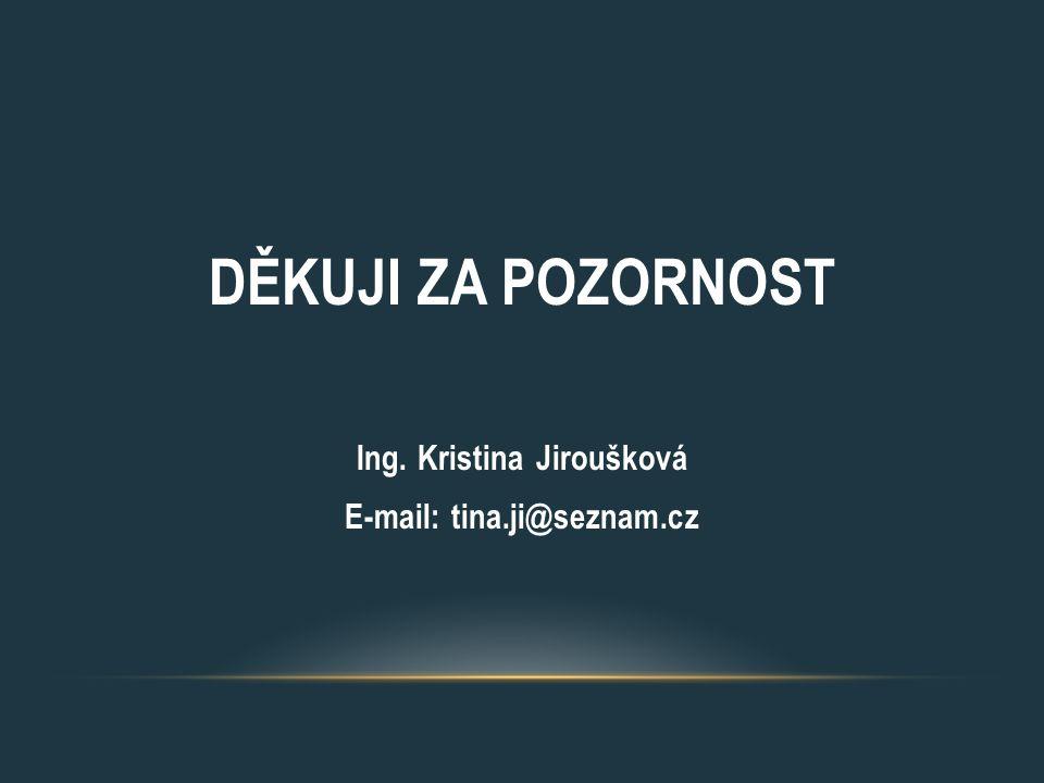 DĚKUJI ZA POZORNOST Ing. Kristina Jiroušková E-mail: tina.ji@seznam.cz