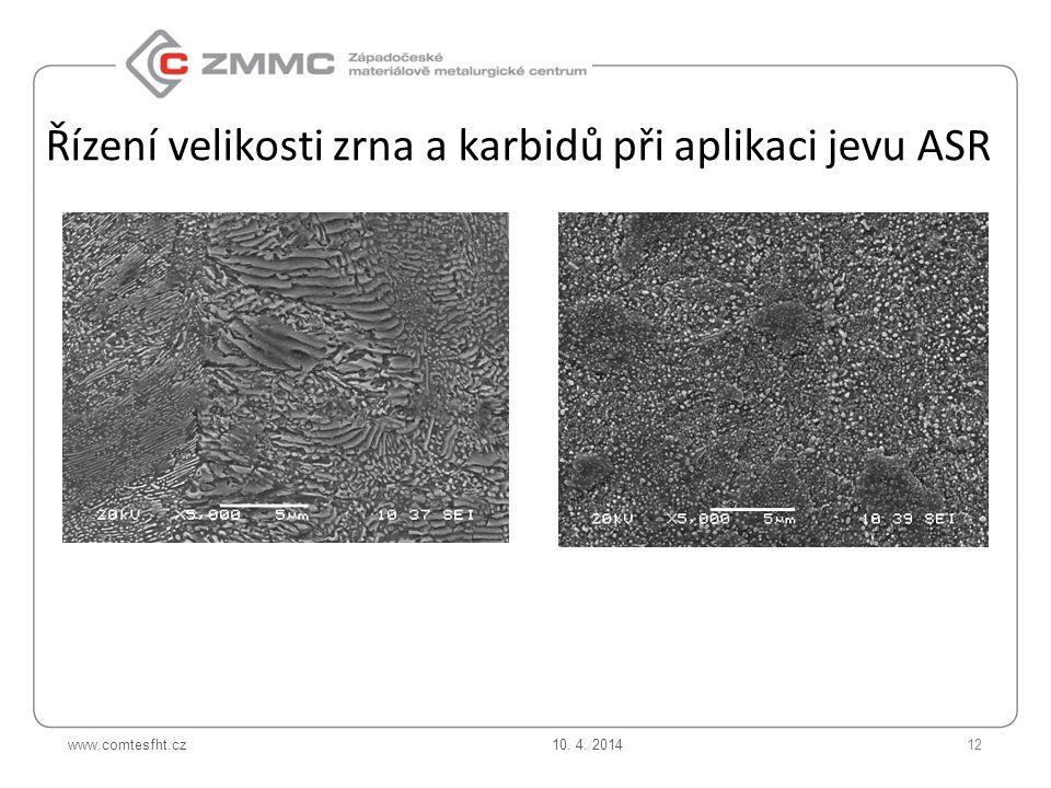 www.comtesfht.cz Řízení velikosti zrna a karbidů při aplikaci jevu ASR 10. 4. 201412