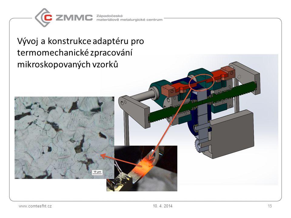 www.comtesfht.cz Vývoj a konstrukce adaptéru pro termomechanické zpracování mikroskopovaných vzorků 10.
