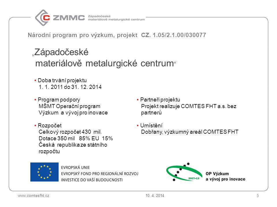 www.comtesfht.cz Národní program pro výzkum, projekt CZ.