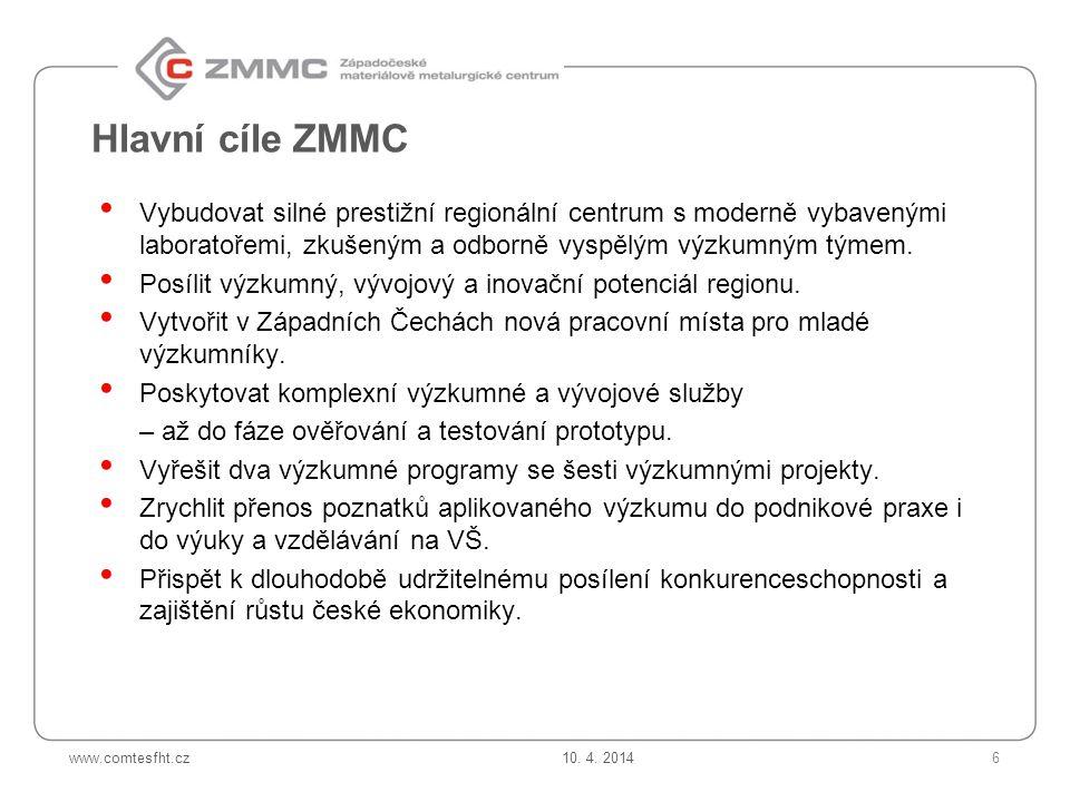 www.comtesfht.cz Hlavní cíle ZMMC Vybudovat silné prestižní regionální centrum s moderně vybavenými laboratořemi, zkušeným a odborně vyspělým výzkumným týmem.