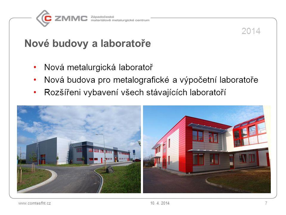 www.comtesfht.cz Nové budovy a laboratoře Nová metalurgická laboratoř Nová budova pro metalografické a výpočetní laboratoře Rozšířeni vybavení všech stávajících laboratoří 2014 710.