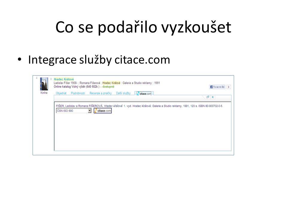 Co se podařilo vyzkoušet Integrace služby citace.com