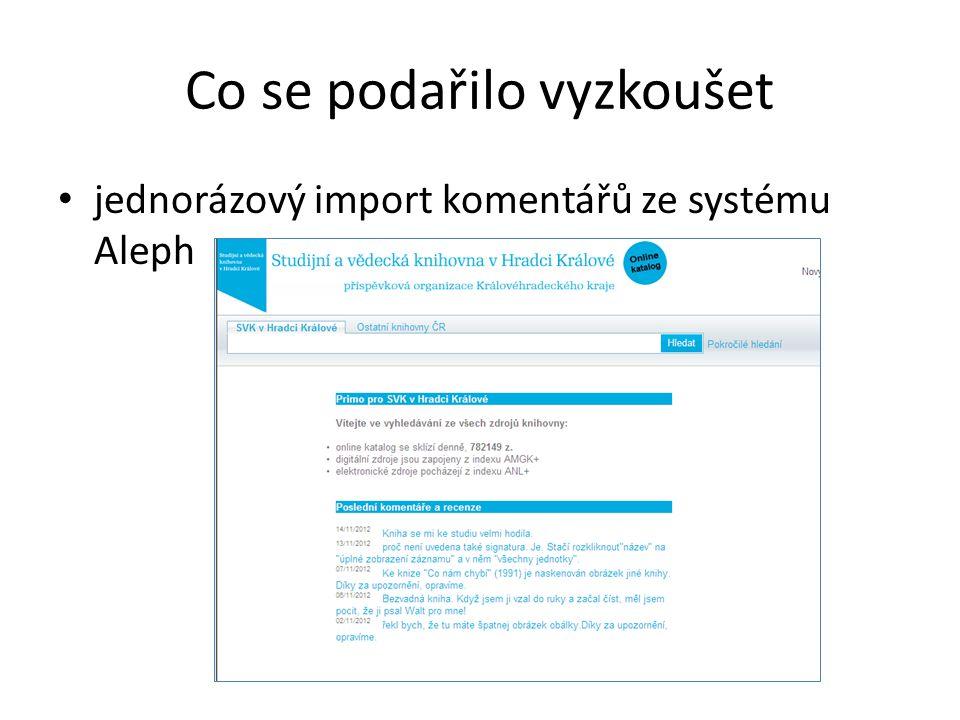 Co se podařilo vyzkoušet jednorázový import komentářů ze systému Aleph