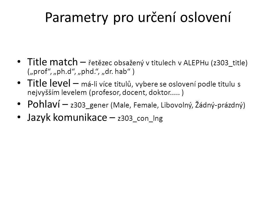 """Parametry pro určení oslovení Title match – řetězec obsažený v titulech v ALEPHu (z303_title) (""""prof , """"ph.d , """"phd. , """"dr."""
