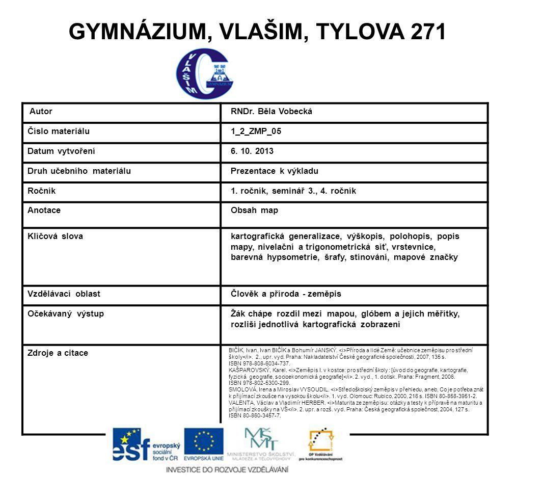 GYMNÁZIUM, VLAŠIM, TYLOVA 271 Autor RNDr. Běla Vobecká Číslo materiálu 1_2_ZMP_05 Datum vytvoření 6. 10. 2013 Druh učebního materiálu Prezentace k výk