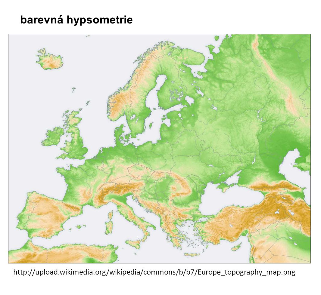 http://upload.wikimedia.org/wikipedia/commons/b/b7/Europe_topography_map.png barevná hypsometrie