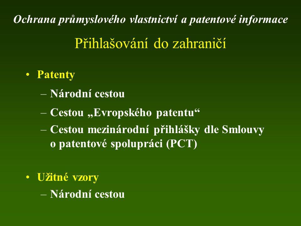 """Patenty –Národní cestou –Cestou """"Evropského patentu"""" –Cestou mezinárodní přihlášky dle Smlouvy o patentové spolupráci (PCT) Užitné vzory –Národní cest"""