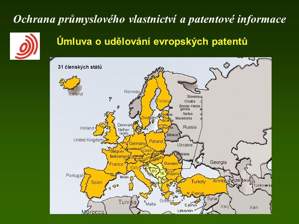 Úmluva o udělování evropských patentů 31 členských států Ochrana průmyslového vlastnictví a patentové informace