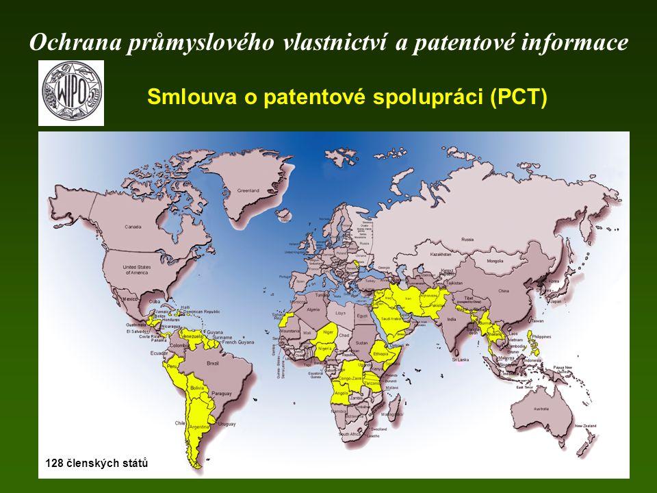 Smlouva o patentové spolupráci (PCT) 128 členských států Ochrana průmyslového vlastnictví a patentové informace