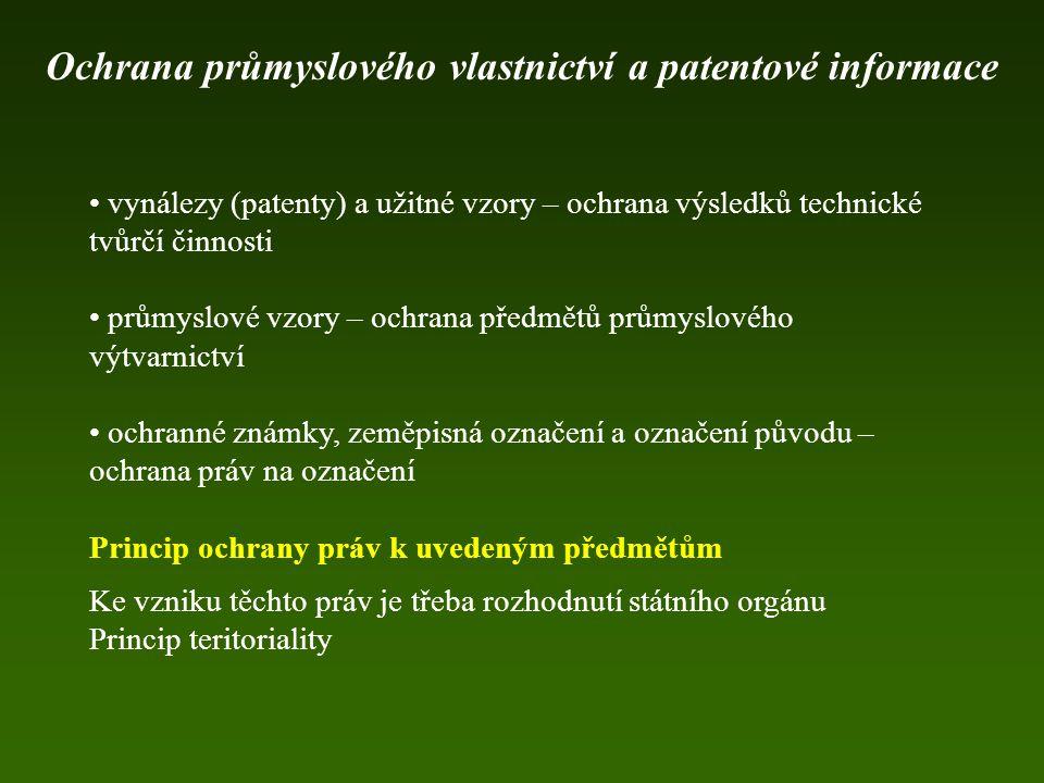 Evropské patentové přihlášky Čeští přihlašovatelé Ochrana průmyslového vlastnictví a patentové informace