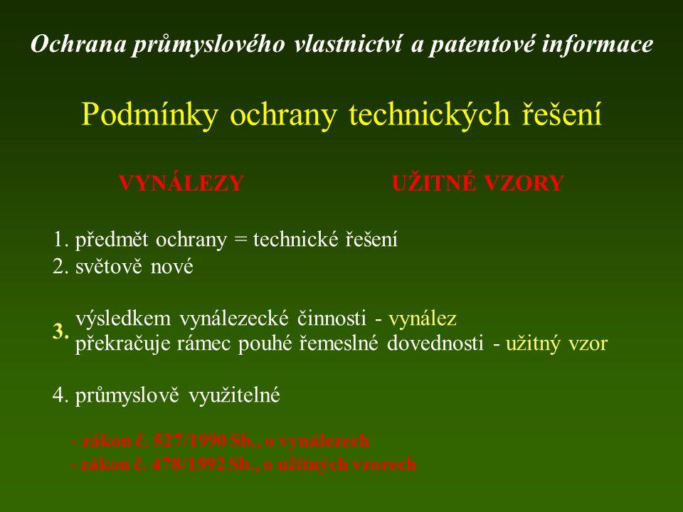 www. espacenet.com Ochrana průmyslového vlastnictví a patentové informace