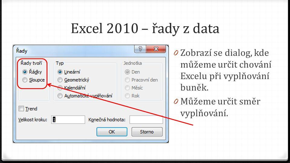 Excel 2010 – řady z data 0 Zobrazí se dialog, kde můžeme určit chování Excelu při vyplňování buněk.