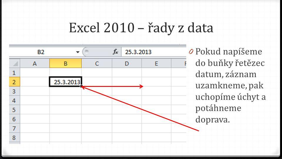 Excel 2010 – řady z data 0 Pokud napíšeme do buňky řetězec datum, záznam uzamkneme, pak uchopíme úchyt a potáhneme doprava.