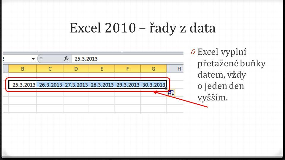 Excel 2010 – řady z data 0 Excel vyplní přetažené buňky datem, vždy o jeden den vyšším.