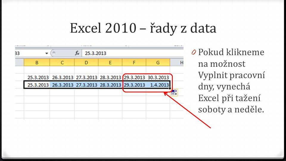 Excel 2010 – řady z data 0 Pokud klikneme na možnost Vyplnit pracovní dny, vynechá Excel při tažení soboty a neděle.