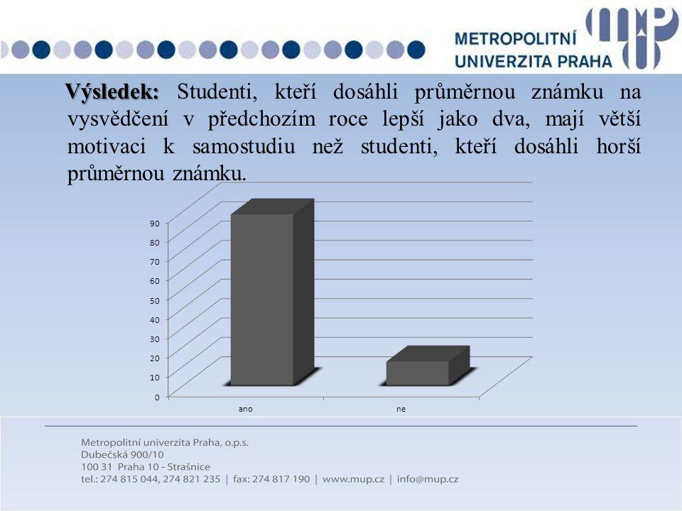 Výsledek: Výsledek: Studenti, kteří dosáhli průměrnou známku na vysvědčení v předchozím roce lepší jako dva, mají větší motivaci k samostudiu než stud