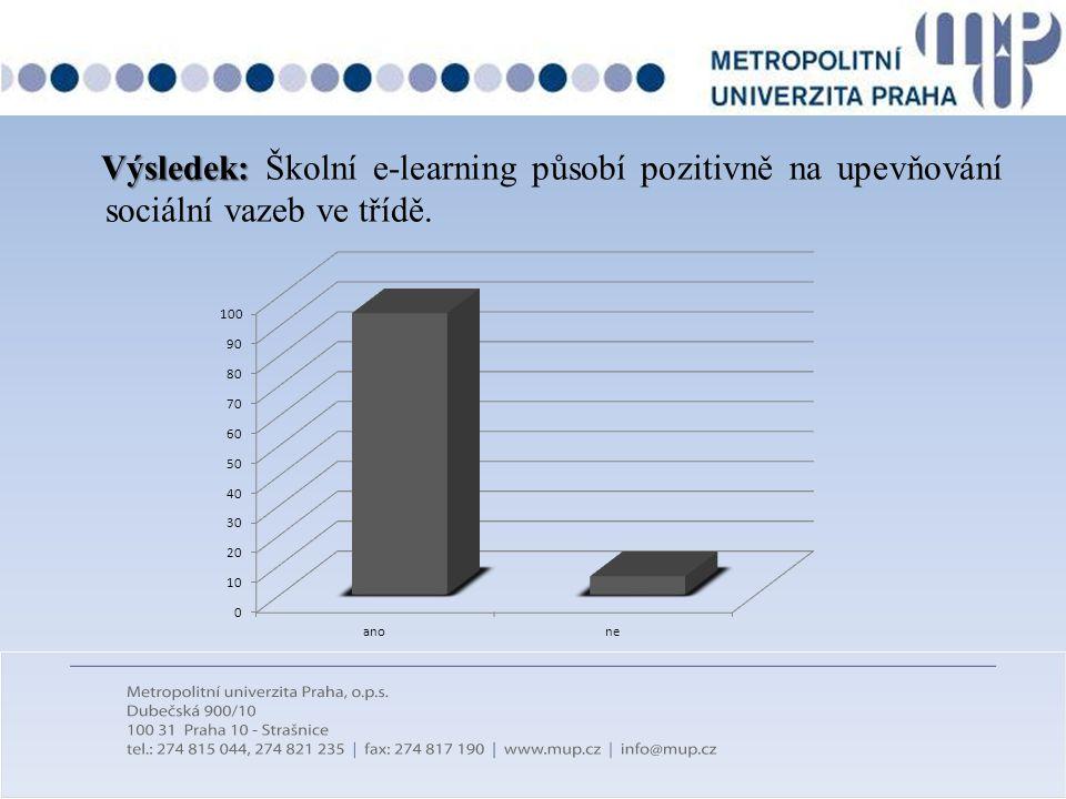 Výsledek: Výsledek: Školní e-learning působí pozitivně na upevňování sociální vazeb ve třídě.