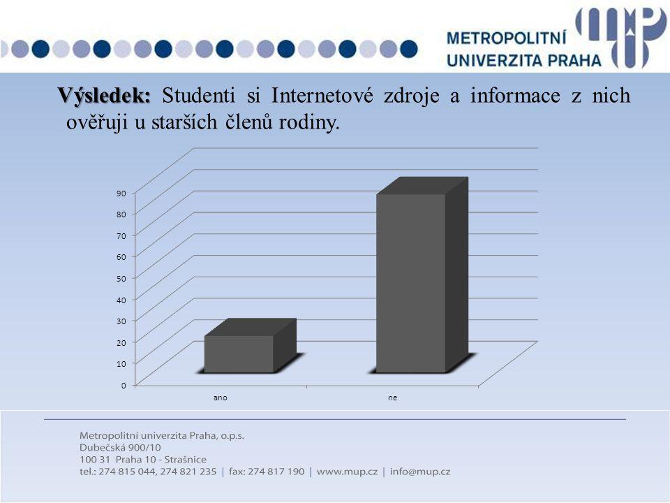 Výsledek: Výsledek: Studenti si Internetové zdroje a informace z nich ověřuji u starších členů rodiny.