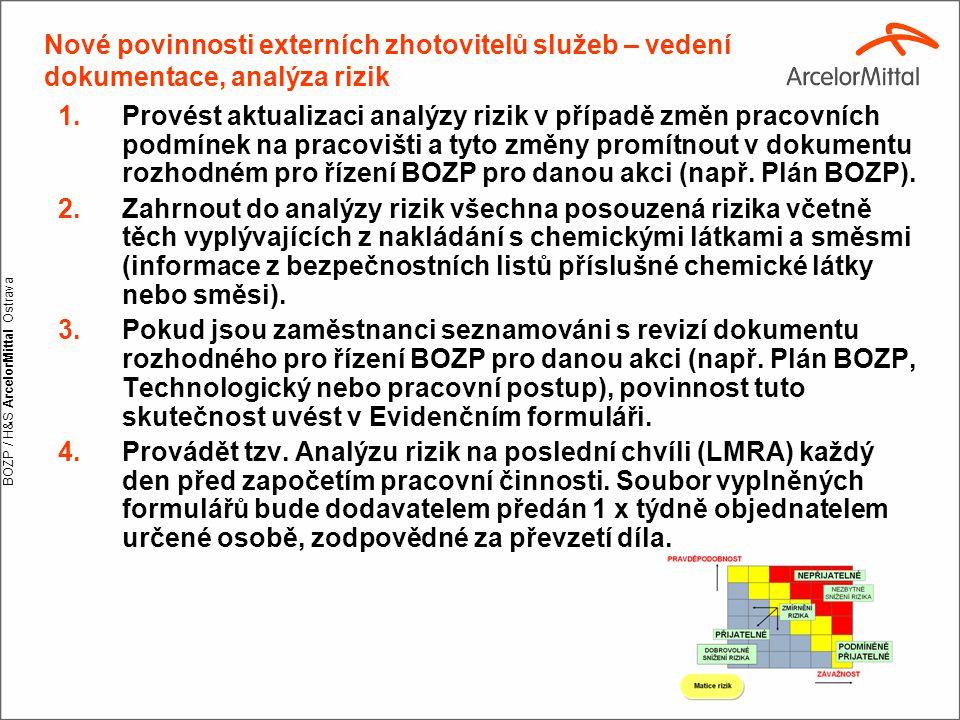 BOZP / H&S ArcelorMittal Ostrava Nové povinnosti externích zhotovitelů služeb – vedení dokumentace, analýza rizik 1.Provést aktualizaci analýzy rizik