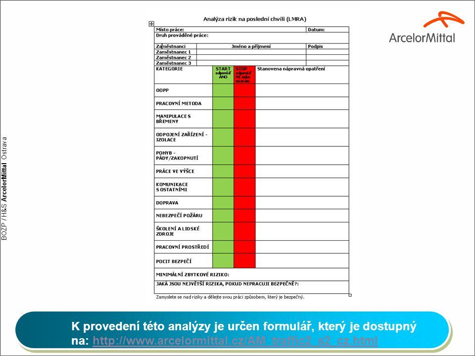 BOZP / H&S ArcelorMittal Ostrava K provedení této analýzy je určen formulář, který je dostupný na: http://www.arcelormittal.cz/AM_traffic2_s2_cz.htmlh
