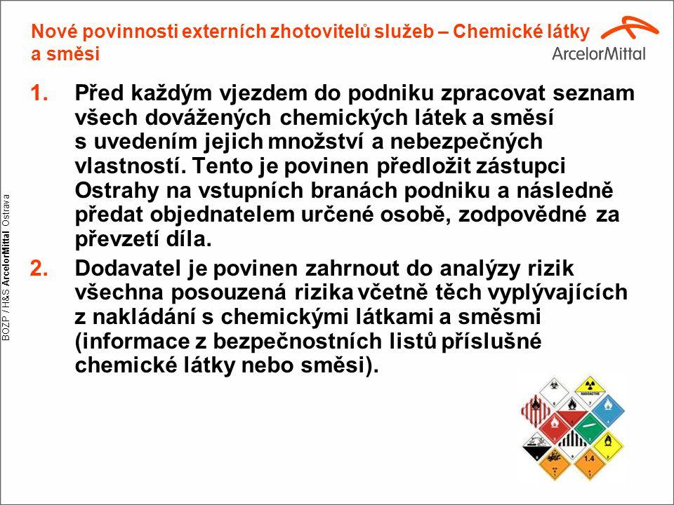 BOZP / H&S ArcelorMittal Ostrava Nové povinnosti externích zhotovitelů služeb – Chemické látky a směsi 1.Před každým vjezdem do podniku zpracovat sezn