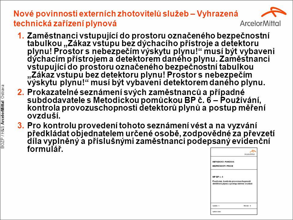 """BOZP / H&S ArcelorMittal Ostrava 1.Zaměstnanci vstupující do prostoru označeného bezpečnostní tabulkou """"Zákaz vstupu bez dýchacího přístroje a detekto"""
