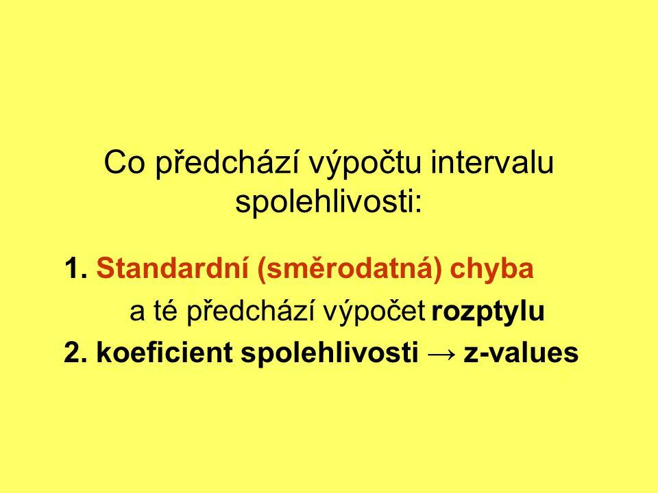 Co předchází výpočtu intervalu spolehlivosti: 1. Standardní (směrodatná) chyba a té předchází výpočet rozptylu 2. koeficient spolehlivosti → z-values
