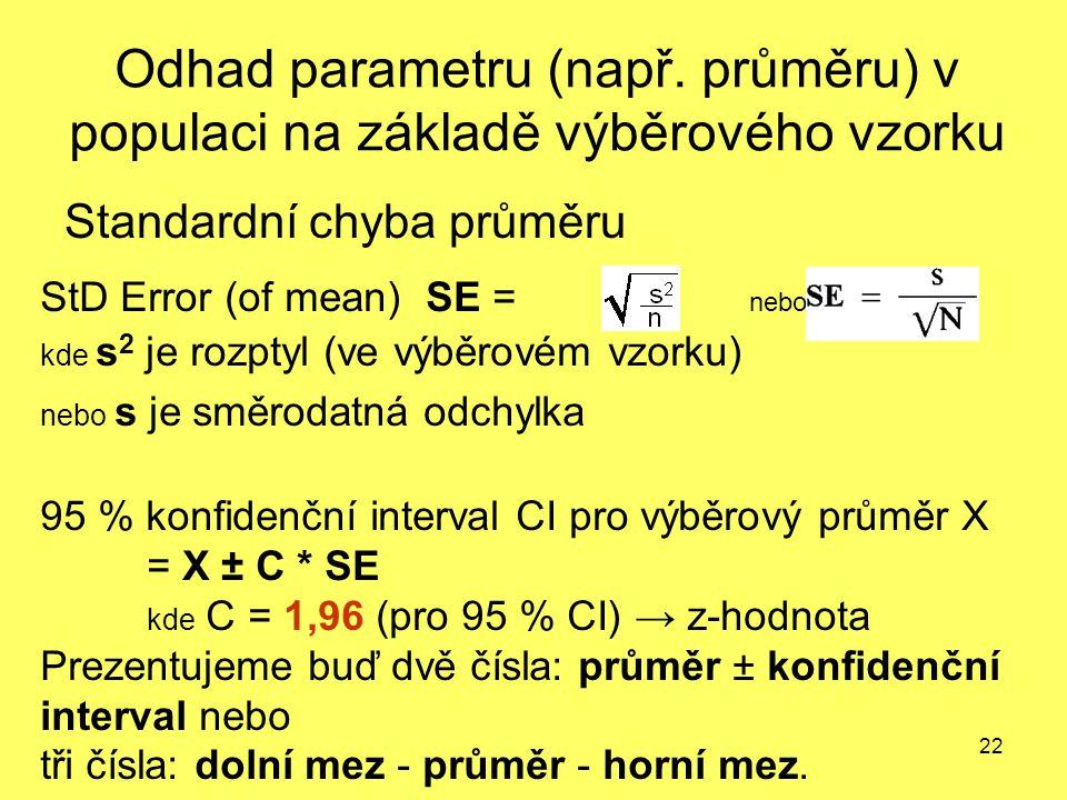 22 Odhad parametru (např. průměru) v populaci na základě výběrového vzorku Standardní chyba průměru StD Error (of mean) SE = nebo kde s 2 je rozptyl (