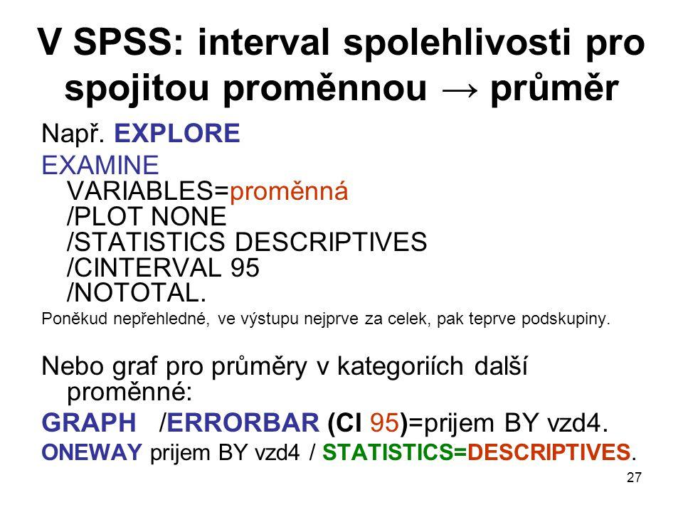 27 V SPSS: interval spolehlivosti pro spojitou proměnnou → průměr Např. EXPLORE EXAMINE VARIABLES=proměnná /PLOT NONE /STATISTICS DESCRIPTIVES /CINTER