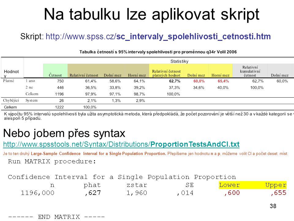 38 Na tabulku lze aplikovat skript Skript: http://www.spss.cz/sc_intervaly_spolehlivosti_cetnosti.htm Nebo jobem přes syntax http://www.spsstools.net/