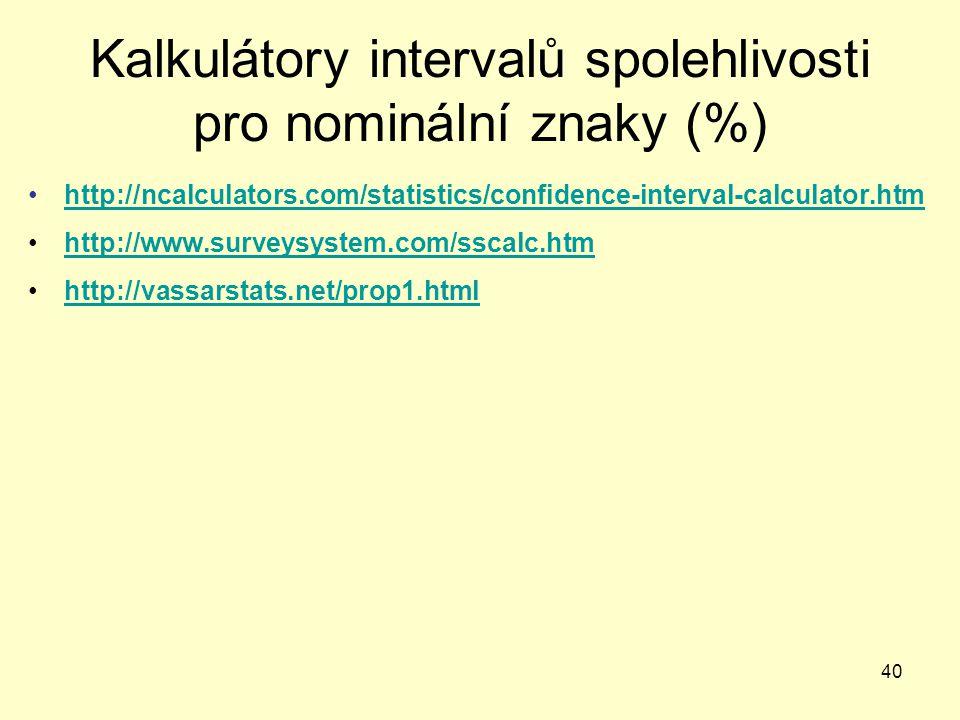 40 Kalkulátory intervalů spolehlivosti pro nominální znaky (%) http://ncalculators.com/statistics/confidence-interval-calculator.htm http://www.survey