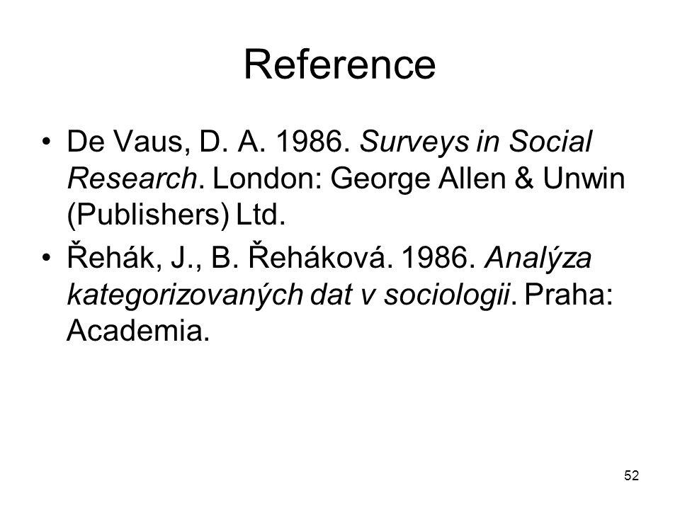 52 Reference De Vaus, D. A. 1986. Surveys in Social Research. London: George Allen & Unwin (Publishers) Ltd. Řehák, J., B. Řeháková. 1986. Analýza kat