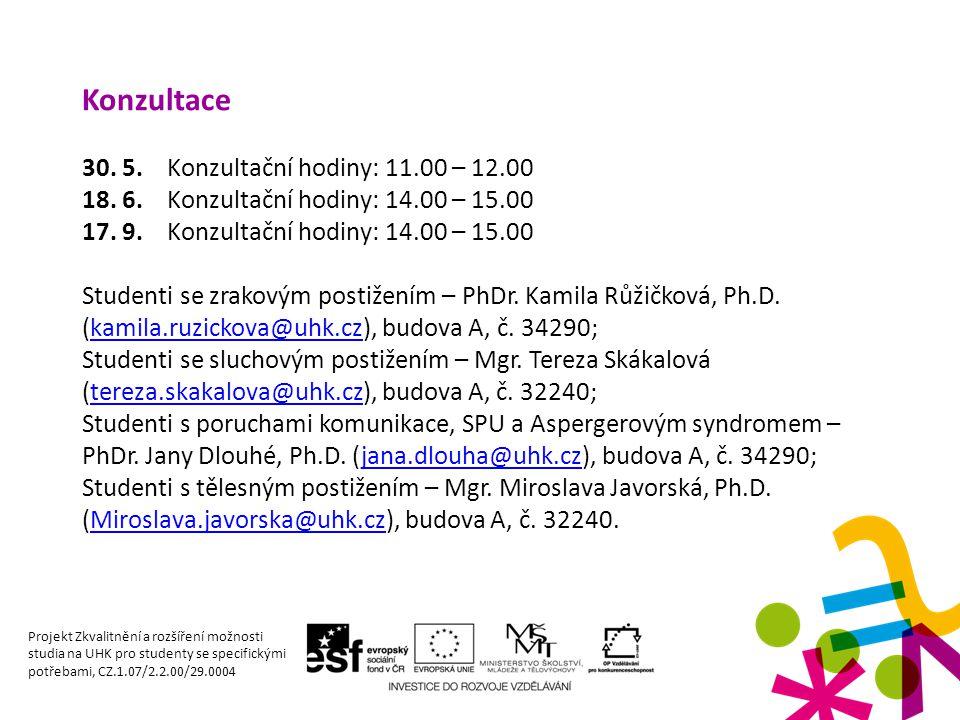 Konzultace 30. 5. Konzultační hodiny: 11.00 – 12.00 18. 6. Konzultační hodiny: 14.00 – 15.00 17. 9. Konzultační hodiny: 14.00 – 15.00 Studenti se zrak