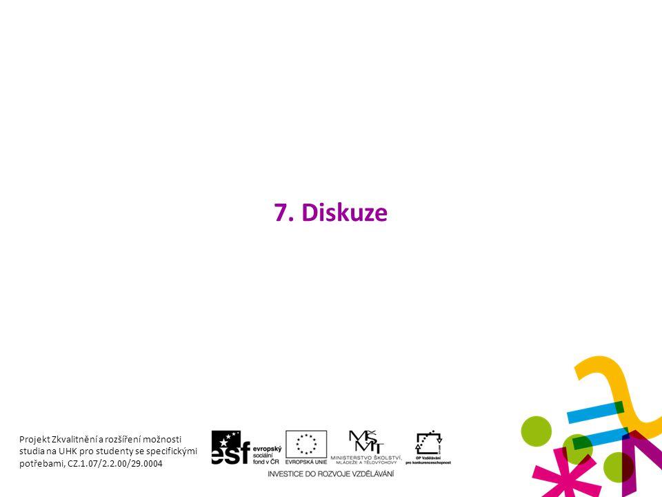 7. Diskuze Projekt Zkvalitnění a rozšíření možnosti studia na UHK pro studenty se specifickými potřebami, CZ.1.07/2.2.00/29.0004