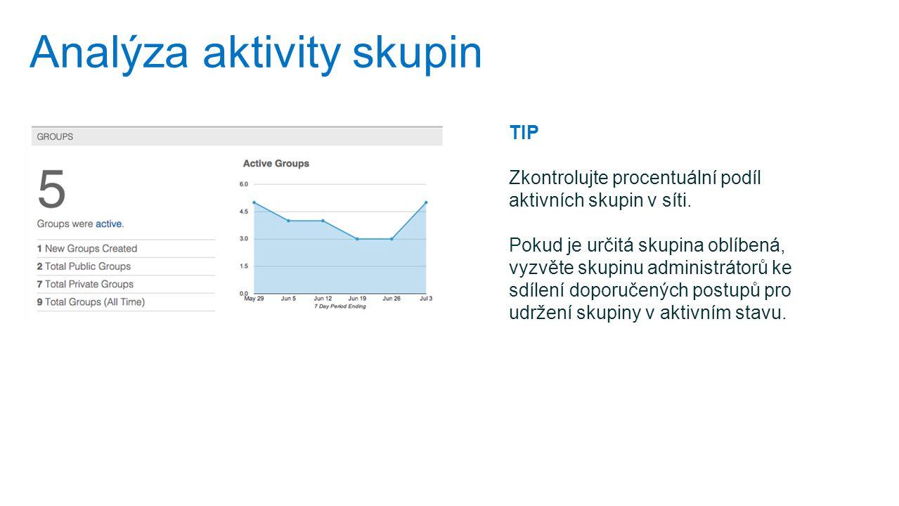 Analýza aktivity skupin TIP Zkontrolujte procentuální podíl aktivních skupin v síti. Pokud je určitá skupina oblíbená, vyzvěte skupinu administrátorů