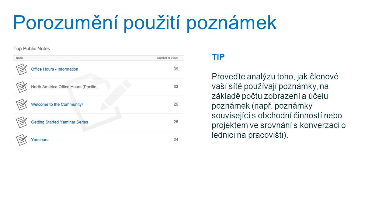 Porozumění použití poznámek TIP Proveďte analýzu toho, jak členové vaší sítě používají poznámky, na základě počtu zobrazení a účelu poznámek (např. po