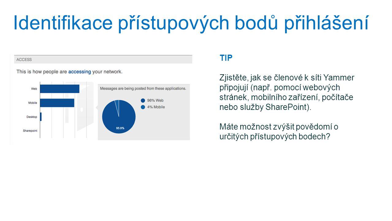 Identifikace přístupových bodů přihlášení TIP Zjistěte, jak se členové k síti Yammer připojují (např. pomocí webových stránek, mobilního zařízení, poč