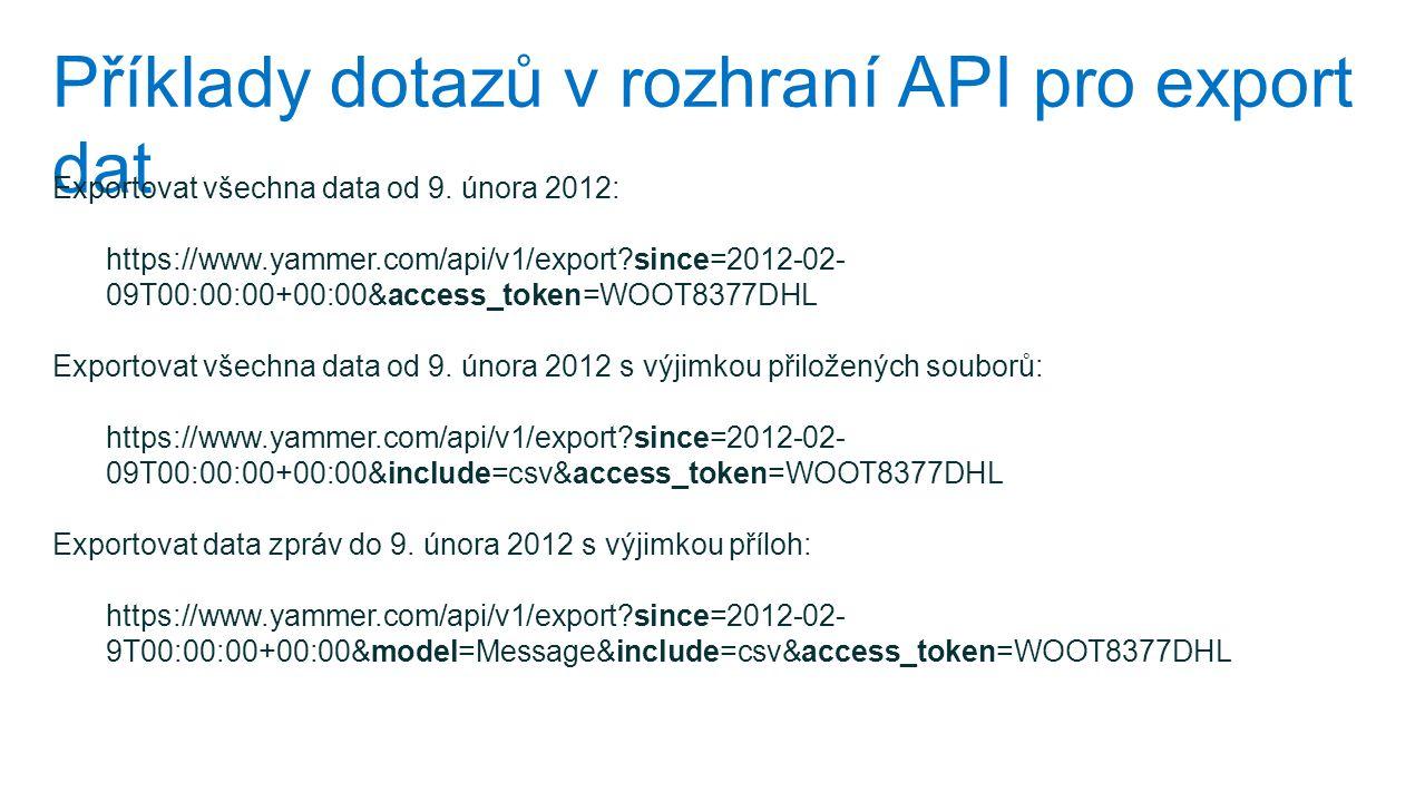 Příklady dotazů v rozhraní API pro export dat Exportovat všechna data od 9. února 2012: https://www.yammer.com/api/v1/export?since=2012-02- 09T00:00:0