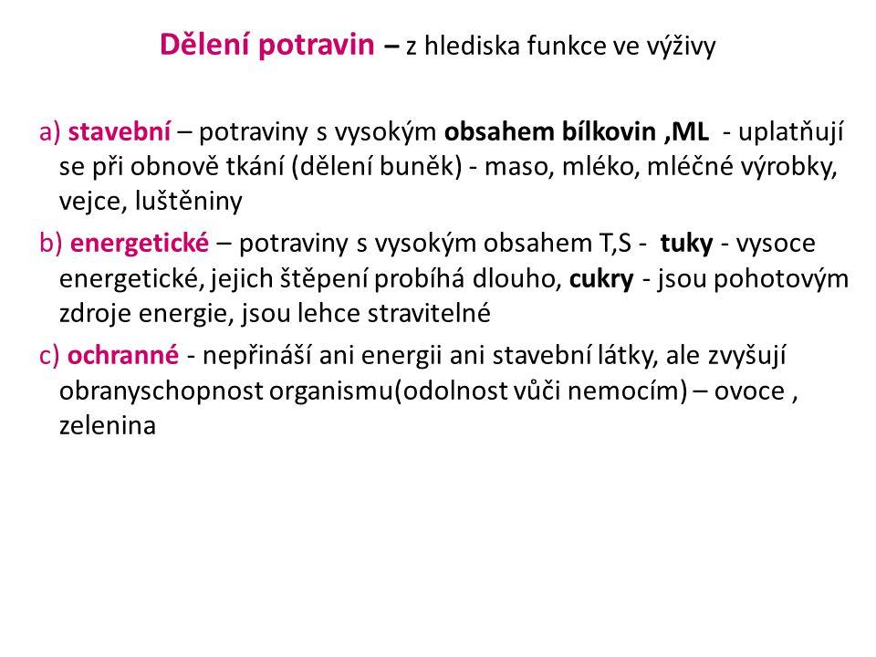 Dělení potravin – z hlediska funkce ve výživy a) stavební – potraviny s vysokým obsahem bílkovin,ML - uplatňují se při obnově tkání (dělení buněk) - m