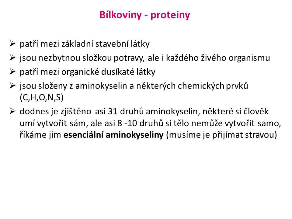 Bílkoviny - proteiny  patří mezi základní stavební látky  jsou nezbytnou složkou potravy, ale i každého živého organismu  patří mezi organické dusí
