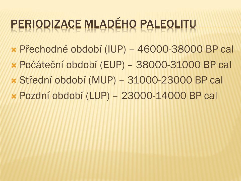  Přechodné období (IUP) – 46000-38000 BP cal  Počáteční období (EUP) – 38000-31000 BP cal  Střední období (MUP) – 31000-23000 BP cal  Pozdní období (LUP) – 23000-14000 BP cal
