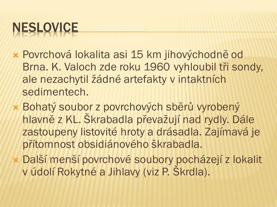  Povrchová lokalita asi 15 km jihovýchodně od Brna.