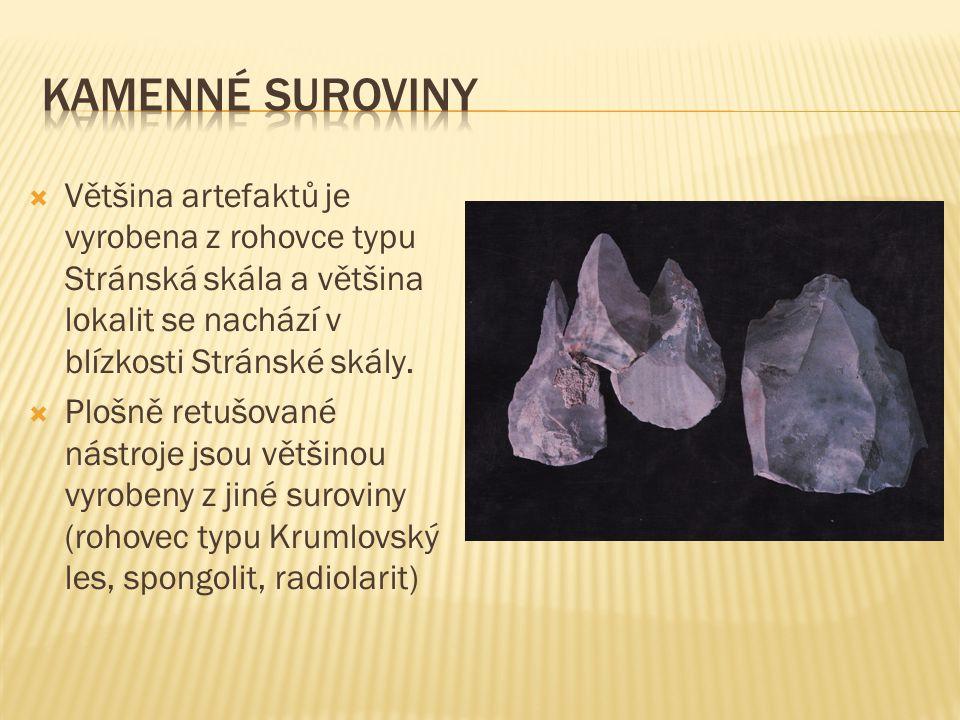  Většina artefaktů je vyrobena z rohovce typu Stránská skála a většina lokalit se nachází v blízkosti Stránské skály.