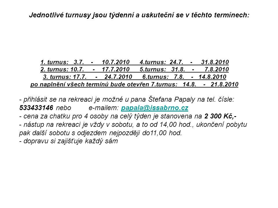 Jednotlivé turnusy jsou týdenní a uskuteční se v těchto termínech: 1. turnus: 3.7. - 10.7.2010 4.turnus: 24.7. - 31.8.2010 2. turnus: 10.7. - 17.7.201
