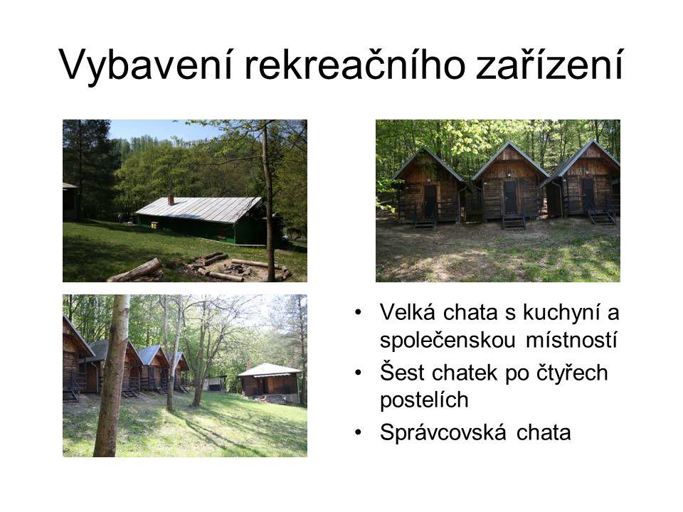 Vybavení rekreačního zařízení Velká chata s kuchyní a společenskou místností Šest chatek po čtyřech postelích Správcovská chata