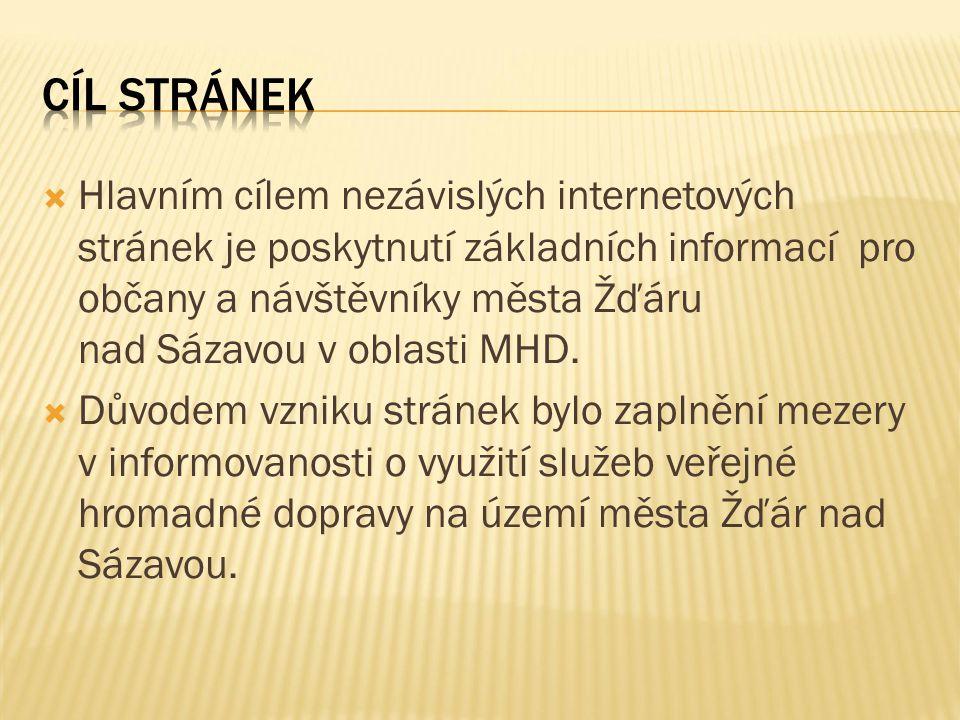  Hlavním cílem nezávislých internetových stránek je poskytnutí základních informací pro občany a návštěvníky města Žďáru nad Sázavou v oblasti MHD.