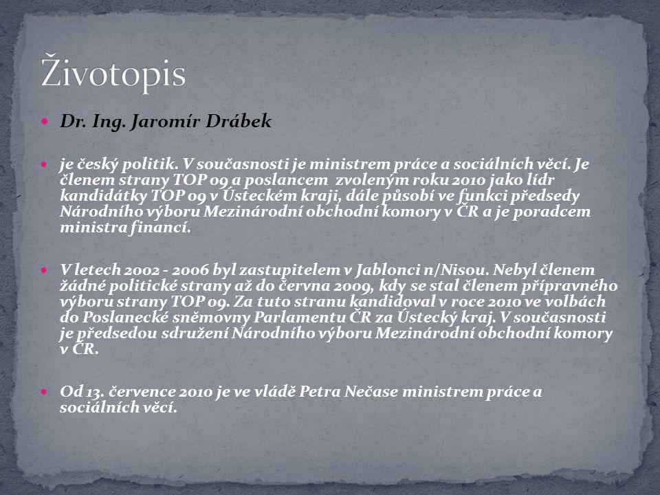 Dr. Ing. Jaromír Drábek je český politik. V současnosti je ministrem práce a sociálních věcí. Je členem strany TOP 09 a poslancem zvoleným roku 2010 j