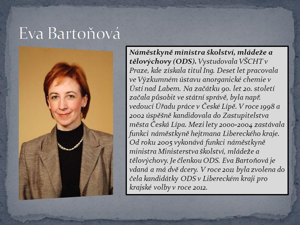 Náměstkyně ministra školství, mládeže a tělovýchovy (ODS). Vystudovala VŠCHT v Praze, kde získala titul Ing. Deset let pracovala ve Výzkumném ústavu a
