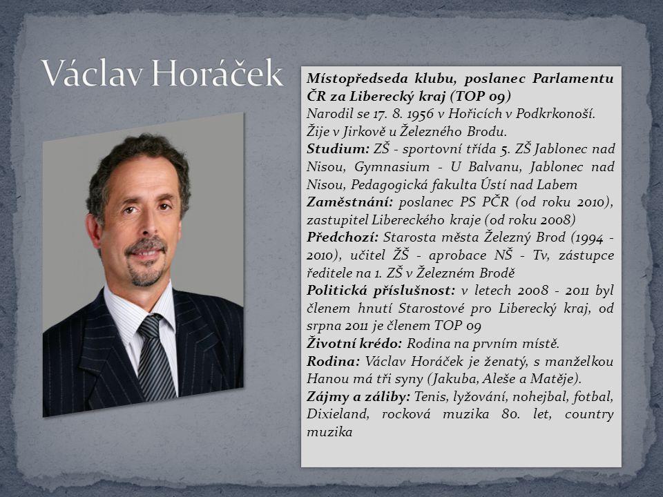 Místopředseda klubu, poslanec Parlamentu ČR za Liberecký kraj (TOP 09) Narodil se 17. 8. 1956 v Hořicích v Podkrkonoší. Žije v Jirkově u Železného Bro